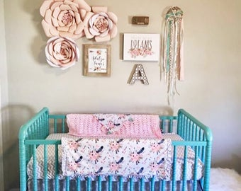 Bohemian Floral - Mint Turquoise Pink Floral - Aztec Cotton Ruffle Pink Minky Crib Stroller Blanket - boho woodland antlers personalized