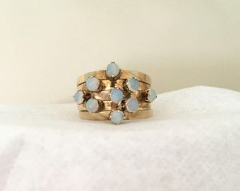 Vintage Antique Opal Ring 5 Band 9kt Rose Gold Size 5.25