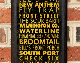 Craft Breweries Wilmington NC Wall Art Plaque Sign Home Decor Scroll Vintage Style Gift Present Beer Brewery Ale Stout Pilsner IPA Classic