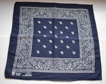 Vintage Paris Accessories  navy blue, white bandana cowboy cowgirl Bandana biker head scarf all cotton Paisleys bandana Made in USA