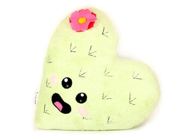 Minky Cactus Cushion, Cactus Plush Pillow, Cactus Home Decor, Cute Kawaii Cacti, Heart Shaped Cactus Plushie, Succulent Nursery Decoration