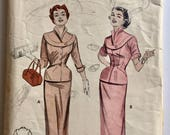 "Vintage 1950s Butterick Misses' Two-Piece Dress Pattern 6924 Size 16 (34"" Bust)"