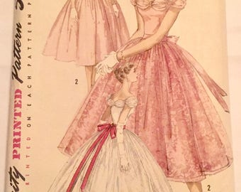"Vintage 1950s Simplicity Misses' Juniors' Evening Dress Pattern 1770 Size 11 (31 1/2"" Bust) UNCUT"