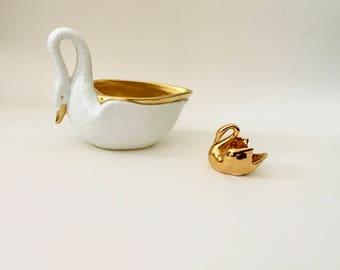 Vintage Pair of Gold Swans, VA Portugal, Vista Alegre, Limoges France