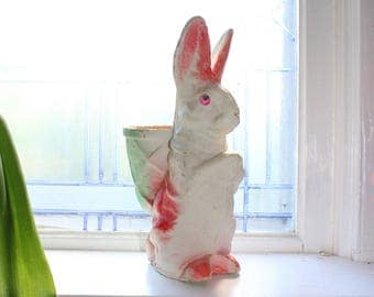 Vintage Paper Mache Rabbit Easter Bunny Candy Container