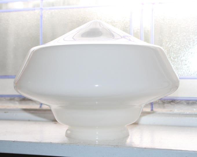 "Vintage Art Deco Milk Glass Schoolhouse Light Fixture Globe 10"" Shade"