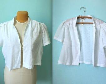 vintage 80s white eyelet cover up / shirt / women's size large xlarge