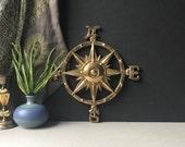 "Vintage Brass Compass LARGE, 12"" Nautical Rose, Bohemian Home Decor, Wedding, Nautical Nursery, Chic Beach House, Beachside Cottage, Boho"