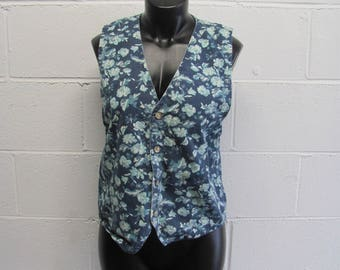 Womens Vintage Floral Denim Jean Vest Blue Floral Denim Button Down Vest Top
