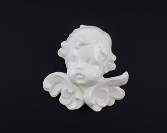 Vintage Scioto Angel Head Plaque - Cherub Angel with Wings Wall Art - Angel Bust Wall Hanging