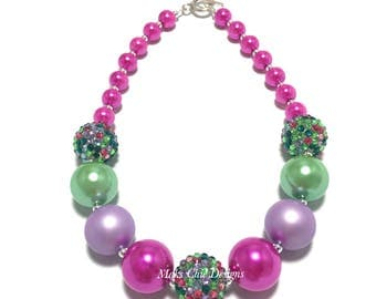 Toddler or Girls Pink and Green Chunky Necklace - Spring Floral Chunky Necklace - Easter Necklace - Confetti Necklace - Pink and Purple