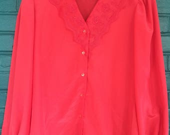 Vintage 1980s - Jessica West Coral Pink Lace Collared  Button-up Blouse Size 8
