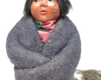 1940's Skookum Native American Indian Doll, Southwestern Souvenir