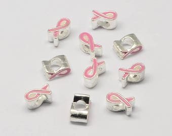 Breast Cancer Ribbon European Beads - Alloy with Enamel