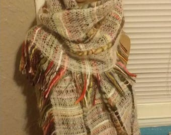 Hand-knitted multicolored extra-long fringed scarf