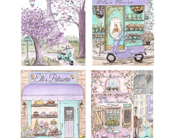 """Paris Bedroom Decor, Purple Lavender Teal Girls Bedroom Wall Art Set Of 4 Personalized Girl Gift Paris Themed Party- 6 Sizes-5x7"""" to 24x36"""""""