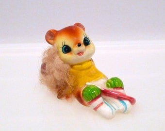 Squirrel Hockey Player with furry tail Vintage Real Fur Tail Chipmunk Miniature Animal Sweater Ice Skates Figurine Japan Cute Kitsch 60s 70s