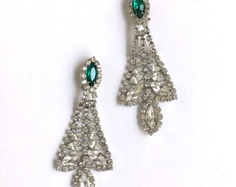 Vintage Rhinestone Clip-On Earrings   1940s