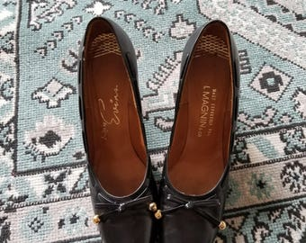 Vintage 1960's Black Leather Pumps with Bows Evins by I.Magnin