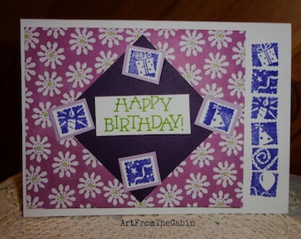 Child Birthday Card, Purple Card, Flower Birthday Card, Purple Card, Stamped Card, Balloon, Candle, Gift, Party Hat, ArtFromTheCabin