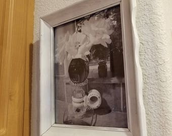 Photo print black and white from my original photo in vintage up cycled wood frame painted white.