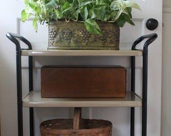Vintage Cosco Metal Rolling Serving Cart // Black and Beige // Bar Cart // Extra Storage Cart  // 3 Shelves // Organizing Cart