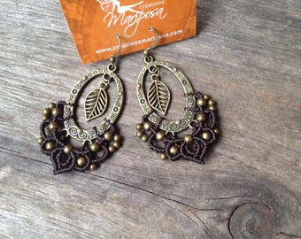 Micro macrame gypsy bohemian chic leaf earrings boho jewelry by Creations Mariposa