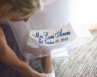 Name Patch for Wedding Dress, Brides Name Sash for Hem of Wedding Dress  ~ Something Blue on your Wedding Day
