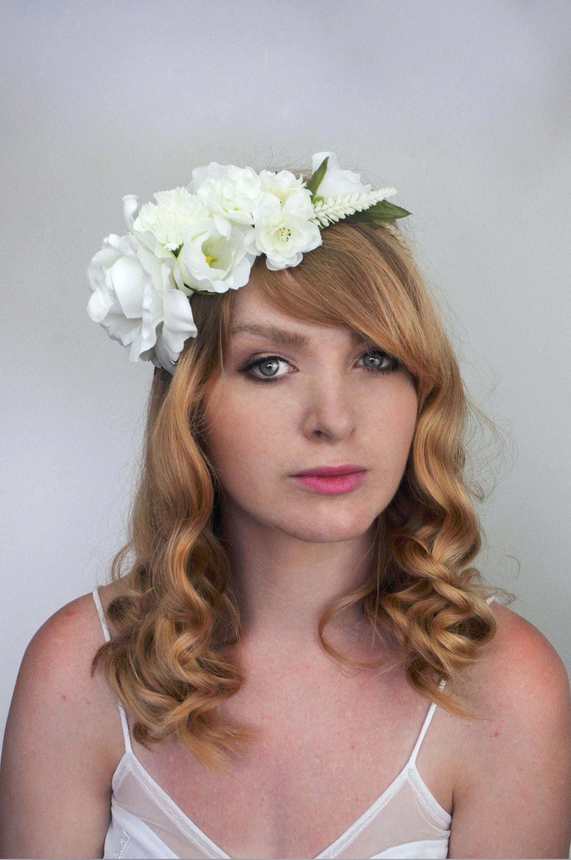 White Bridal Flower Crown Flower Garland Flower Wreath Rose