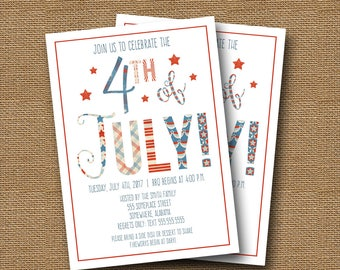 July 4th Invitation | 4th of July Party | July 4th BBQ Cookout | Independence Day Barbecue | Patriotic Red White Blue Stars | DIY PRINTABLE