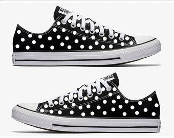 Black Converse Hand Painted with White Polka Dots