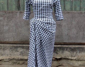 Black and White Gingham Check Cotton Dress