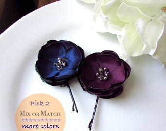 Dark Navy Blue and Purple Plum Wedding Toddler, Small Fabric Flowers for hair, Silk Floral hair Pins, Crystal & Silver Bead, Bobbies 1.5""