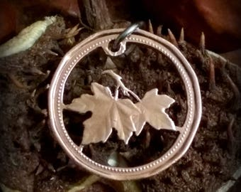 Maple leaves - Les Feuilles d Erable Lucky Canadian penny  - cut coin pendant necklace charm