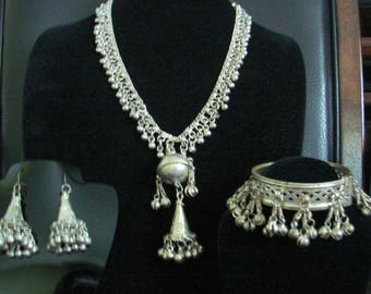 Vintage Boho Kuchi Tribal Statement Parure / Necklace / Bracelet / Earrings / Jewelry / Jewellery
