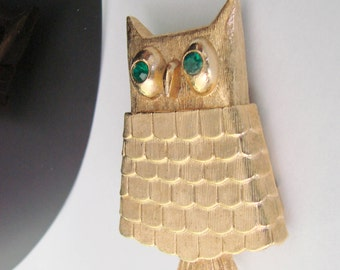 Wonderful Vintage Avon Jeweled Owl Brooch Pin With Secret Perfume Glace Locket Compartment  / Mid Century / 1960s / Figural
