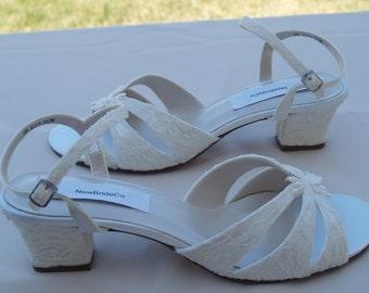 Wedding Shoes B W WW width comfortable heel, Short Thick Heel, Wide Width Wedding Shoes