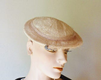 Straw Dress Hat with Rhinestone Dangle Bead and Netting, Kerrs Oklahoma City
