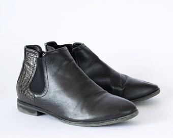 Vintage 90's Women's Black Chelsea Faux Leather Ankle Boots UK 4 EU 37 US 6