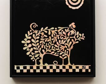This Little Piggy, ORIGINAL painting, framed, ready to hang, from the Topiary Series by Lisa Firke