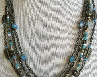 Multistrand beach necklace, Czech aqua opalite picasso bicone beads, Toho glass sead bead mix, brass chain and leaf beads, toggle clasp