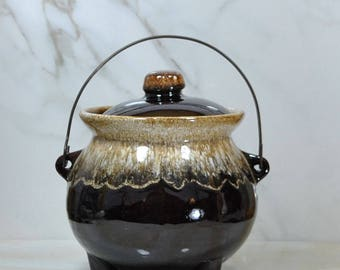 Vintage Brown Drip Glaze Bean Pot w/ Wire Handle & Lid,Soup Pot, Stoneware Pot, Stew Pot, 1960's, USA Pottery, Crock Pot, Crockery Kettle