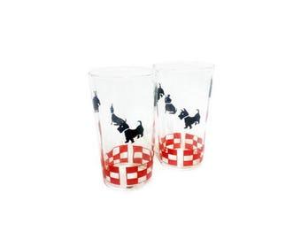 Vintage Scottie Dog Glasses, Mid Century Barware, Kitchen Glassware