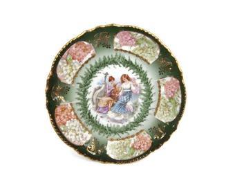 Antique Bavaria Plate Porzellanfabrik Moschendorf 22K Gold Two Maidens Dancing Playing Harp German Porcelain Hand Painted Greens And Pinks