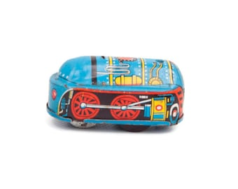 Vintage Tin Toy Train Engine Made in Japan Key Wind Blue Locomotive Blue and Red Childs Metal Toy Friction Train