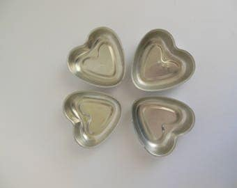 Heart Aluminum Jello Molds Four or Five Small Pans for Valentines Day Cooking or Baking Mid Century Kitchen Ware