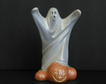 Ceramic Halloween Ghost Scary Byron Molds Ghost Figurine with Jack O' Lantern and Pumpkins 1977