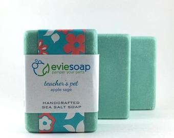 teacher's pet - apple sage - Sea Salt Soap, Cold Process Soap, Handmade Soap, EvieSoap