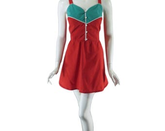 80s Play Dress | Red and Turquoise Mini - lg, xl, plus