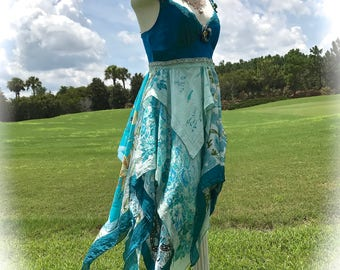 Boho Windy Flutter Silk Gypsy Dancing Dress Tatter Layered Peacock Aqua